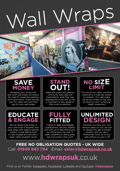School wall wrap advert